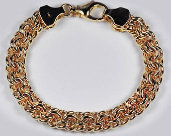 Custom Made Solid 18K Yellow Gold Russian Wheat Bismark Link Mens Bracelet 10 mm 7-10 inches