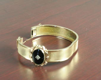 Plainville Stock Company PSCO Onyx and Diamond in a 10K Gold-Filled Bracelet with Chain
