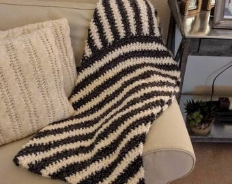 Black and white chunky throw blanket. Handmade, crocheted, incredibly soft and warm!