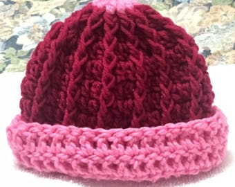 Handmade crocheted cabled baby beanie!