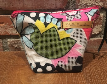 flowers and dots makeup bag, cosmetic pouch, toiletry bag, handmade