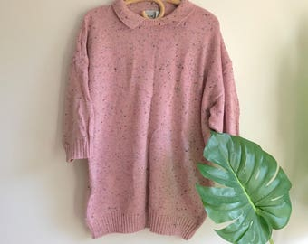 Pink Marbled Plus Size Oversized Sweater with Collar / Pink 80's Oversized Plus Size Sweater
