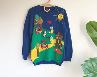 Vintage Handmade Golf Sweater by Raquel Size Medium People