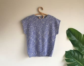 Vintage Mottled Periwinkle Blue Short Sleeve Sweater Size Large