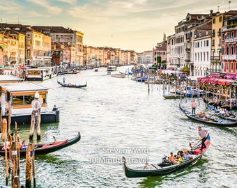 Venice Grand Canal with Gondolas, and vaporetto boats and Palazzos