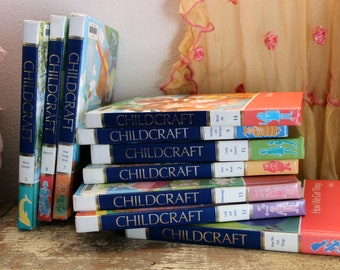 C. 1985 Set-of-10 Childcraft Vintage Books Shabby Chic Pastel Colors Illustrated Kids Childrens Education Encyclopedia