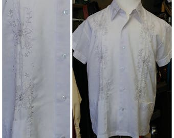 Vintage White Double Red Horse Guayabera