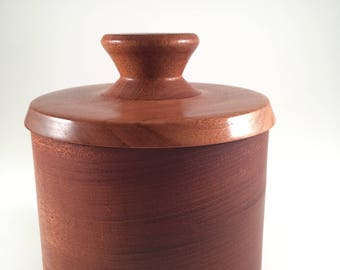 Red Mahogany Container with Cherry Lid and Mahogany Knob
