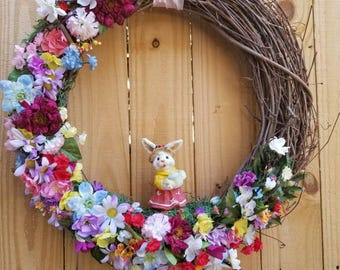 Spring Wreath, Spring Decor Easter Wreath,Easter Decor,Bunny Wreath,Easter Bunny Wreath, Summer Wreath, Wild flawors Wreath