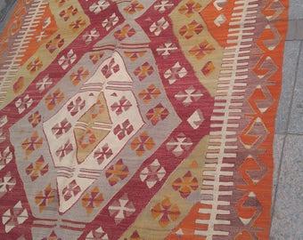 """Handmade kilim rug216x146cm 85""""x57"""",Turkish kilim rug,Anatolian kilim rug,vintage kilim rug,tribal kilim rug, Handmade kilim rug"""