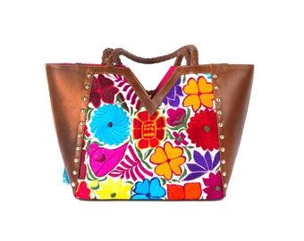 PAIPAI-leather handbag with handmade embroidery