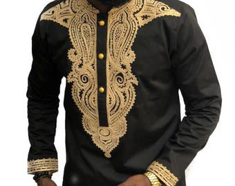 Odeneho Wear Mens black Polished Cotton Top with Embroidered Design African Clothing