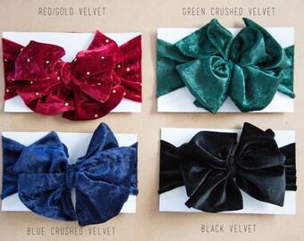 Oversized Velvet Bow Headband (Multiple Colors)