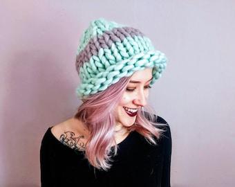 Mint/Gray Striped Soft Wool Hand-Knit Hat