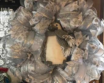 Winter Penguin Wreath
