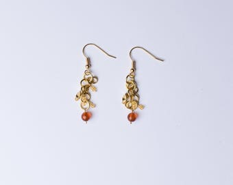 Gold Cluster Dangle Earrings