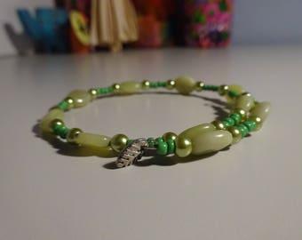 Green Memory Wire Leaf Bracelet