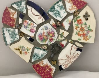 Heart, Love, Eclectic style mosaic heart, different china patterns, with variety of embellishments, beautiful one of a kind, valentine heart