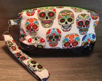 Clematis Clutch, Sugar Skull, Wristlet, Makeup Bag, Zipper Pouch, Evening Bag, Glitter Vinyl, Pencil Pouch