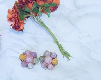 Vintage Signed Kramer Colorful Fruit Salad Style Clip On Earrings | summer jewelry ideas, summer party jewelry, flower earrings, blush gold
