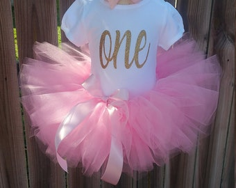 Pink and Gold Custom First Second Third Birthday Tutu Outfit Free Personalization