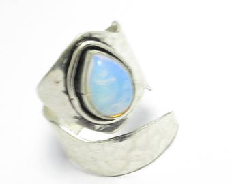silver plated opel gemstone ring