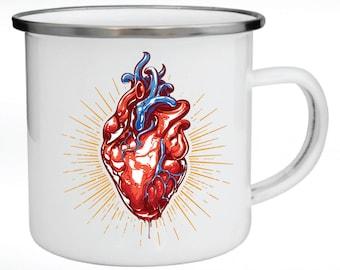 Enamel Mug, Metal Mug, Valentine's Day Gift, Gift for Couples, Shiny Anatomic Heart