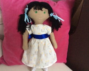 Mixed Race, Black Hair, Green Eyes, fabric doll