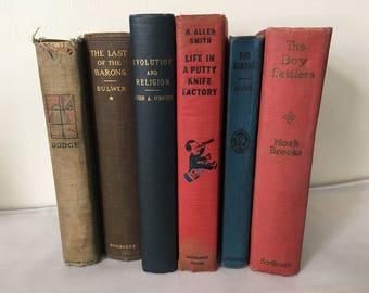 6 Vintage Antique Book Lot Books Horatio Alger Noah Brooks H AllenSmith etc.