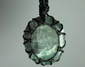 Green Transparent Stone Threaded Pendant **Necklace, Key chain, Pendulum, Fluorite Jewellery