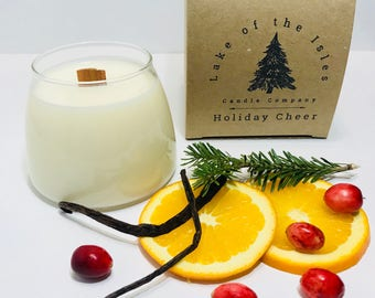 Holiday Cheer Candle - gift for everyone, wood wick candle, soy candle, gift candles, handmade candles, gift for her