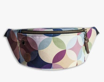 retro circles fanny pack, bum bag, hip pouch, handmade, slow fashion, zala szyje