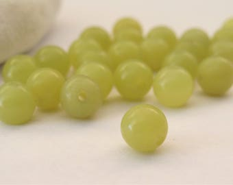 24 PCS - 6mm Olive Jade Smooth Round Beads, Round Olive Jade Gemstone Beads, Green Jade Round Beads, Natural Genuine Gemstone Bead(GNJL-049)