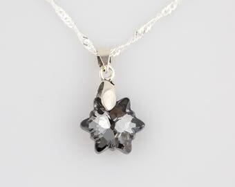 Grey silver night swarovski crystal star pendant
