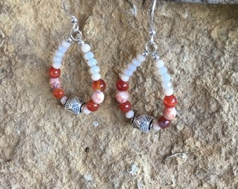 Pear shaped Orange Agate and Sterling Silver Bali Bead Earrings