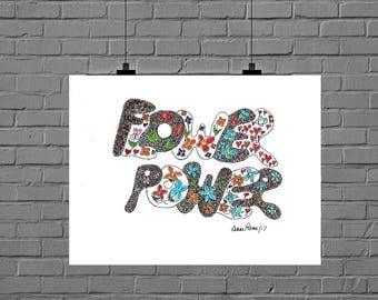 8 x 10, Letter art, flower power, flower power art, letter art reflections, doodle art, art doodles, colorful, whimsical, printable art