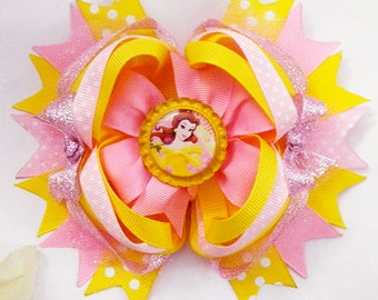 Belle Beauty and the Beast Inspired Stacked Yellow Pink Glitter Hair Bow 6 inches XL