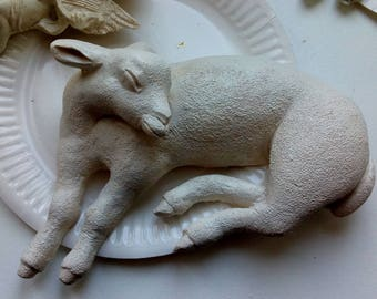 Patinated plaster lamb
