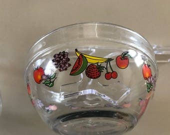 Glass bowl set with fruit design and lids - vintage 1990s