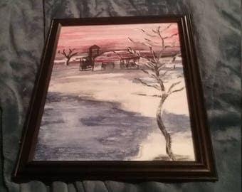 Sunset or sunrise framed painting,old barn