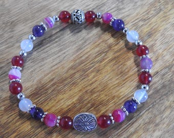 Natural Amethyst, Fuchsia Madagascan Agate, Milky White Agate & Red Malaysian Jade healing gemstone stretch bracelet