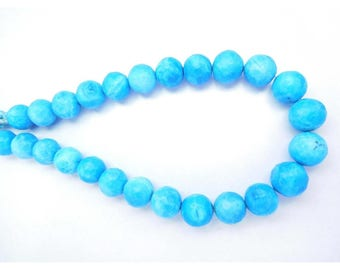 FREE SHIPPING+50%OFF 30 Gm/25 Beads Howlite Turquoise Gemstone 9-10 Mm Faceted Round Beads 8 Strand