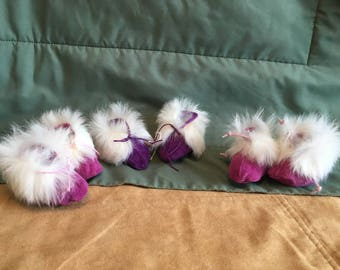 Suede and rabbit fur infant moccasins/slippers