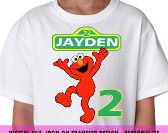 Sesame Street , Iron On Transfer , Sesame Street DIY Transfer , DIY Sesame Street Birthday Shirt , Elmo , Any Name , Any Age , Digital Files