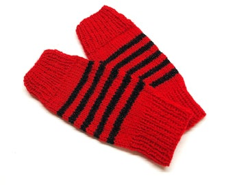 Red and Black Striped Mittens / Wrist Warmers