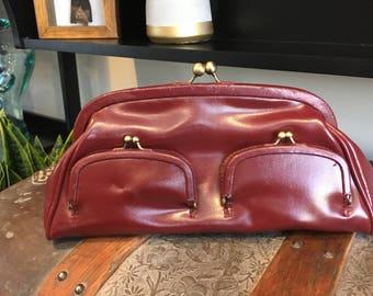 Maroon vintage leather clutch