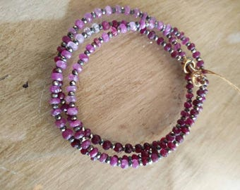 Ruby and Pyrite necklace or wrap bracelet