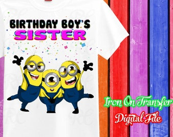 Sister, Minions Iron On Transfer, Minions Iron On Transfer, Minions Birthday Shirt Mommy Sister Iron On, Instant Download