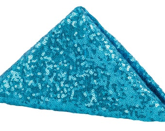 4 PACK Turquoise Sequin Napkin Dinner Fancy Wedding Table Settings Dinnerware Cloth Napkins Sparkly Wholesale Sequin Napkins Blue Glitter