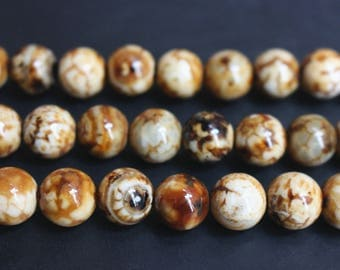15 inches Full strand,Leopardskin Agate smooth round beads 10,12,14mm,loose beads,semi-precious stone